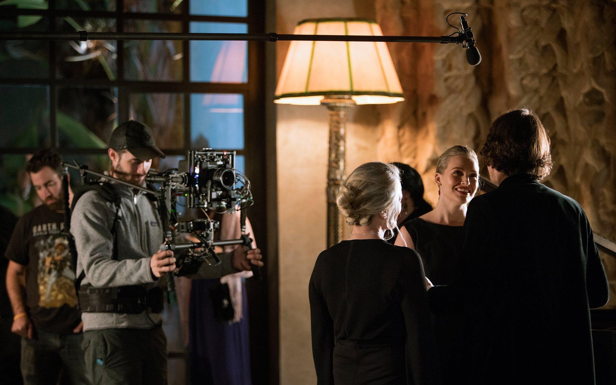 Actors preparing for a scene