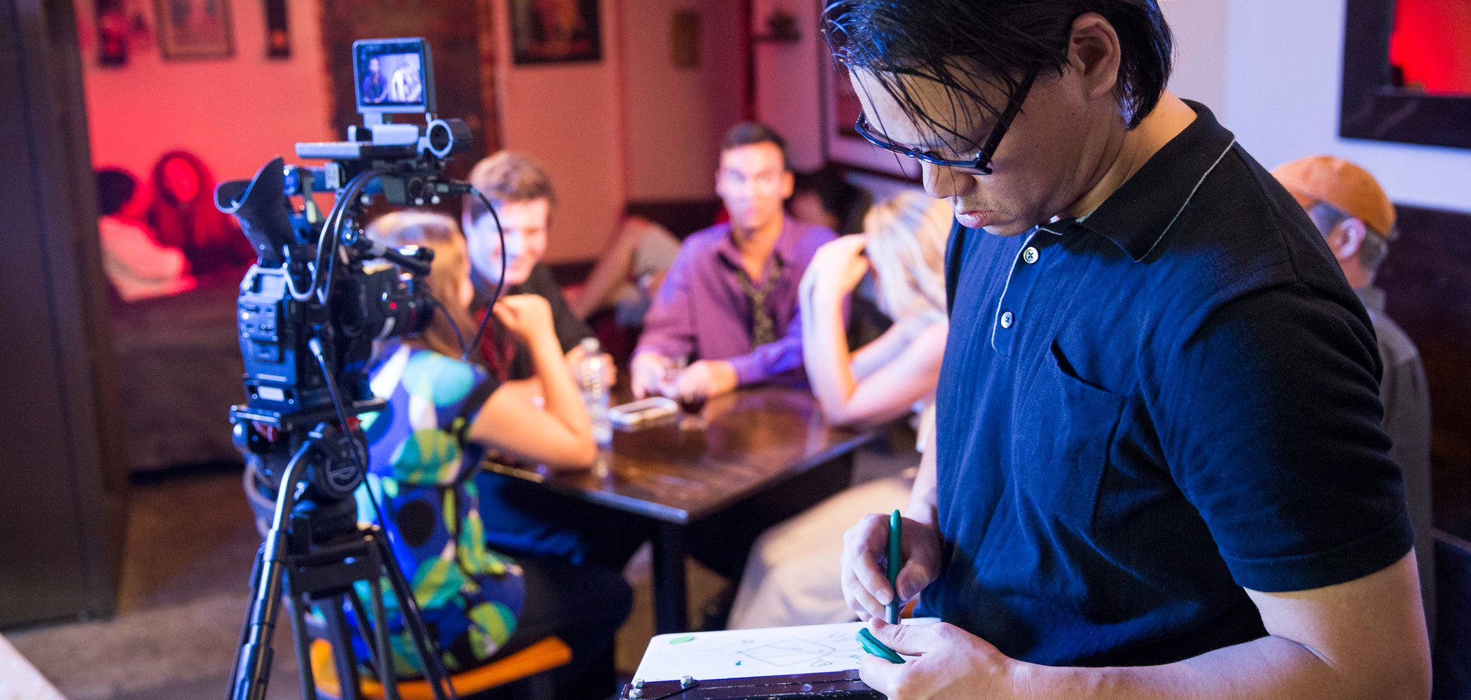 Behind the scenes while filming