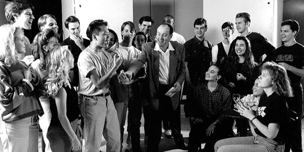 Artistic Director David Martin with AMDA students in the Ansonia building. (1985)
