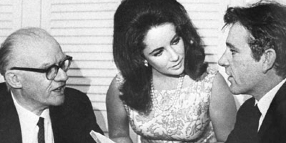 AMDA's first director Philip Burton with Elizabeth Taylor and Richard Burton. Photo by: Friedman-Abeles