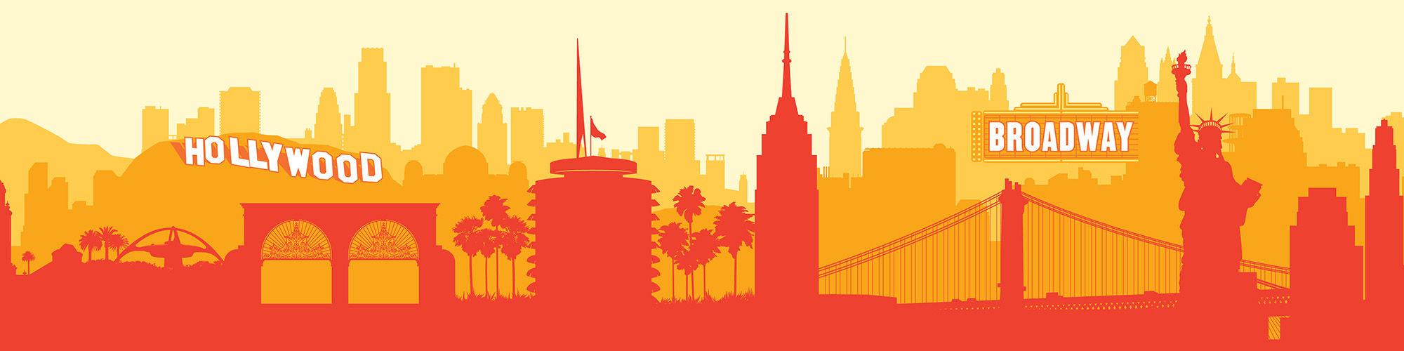 Los Angeles and New York skyline