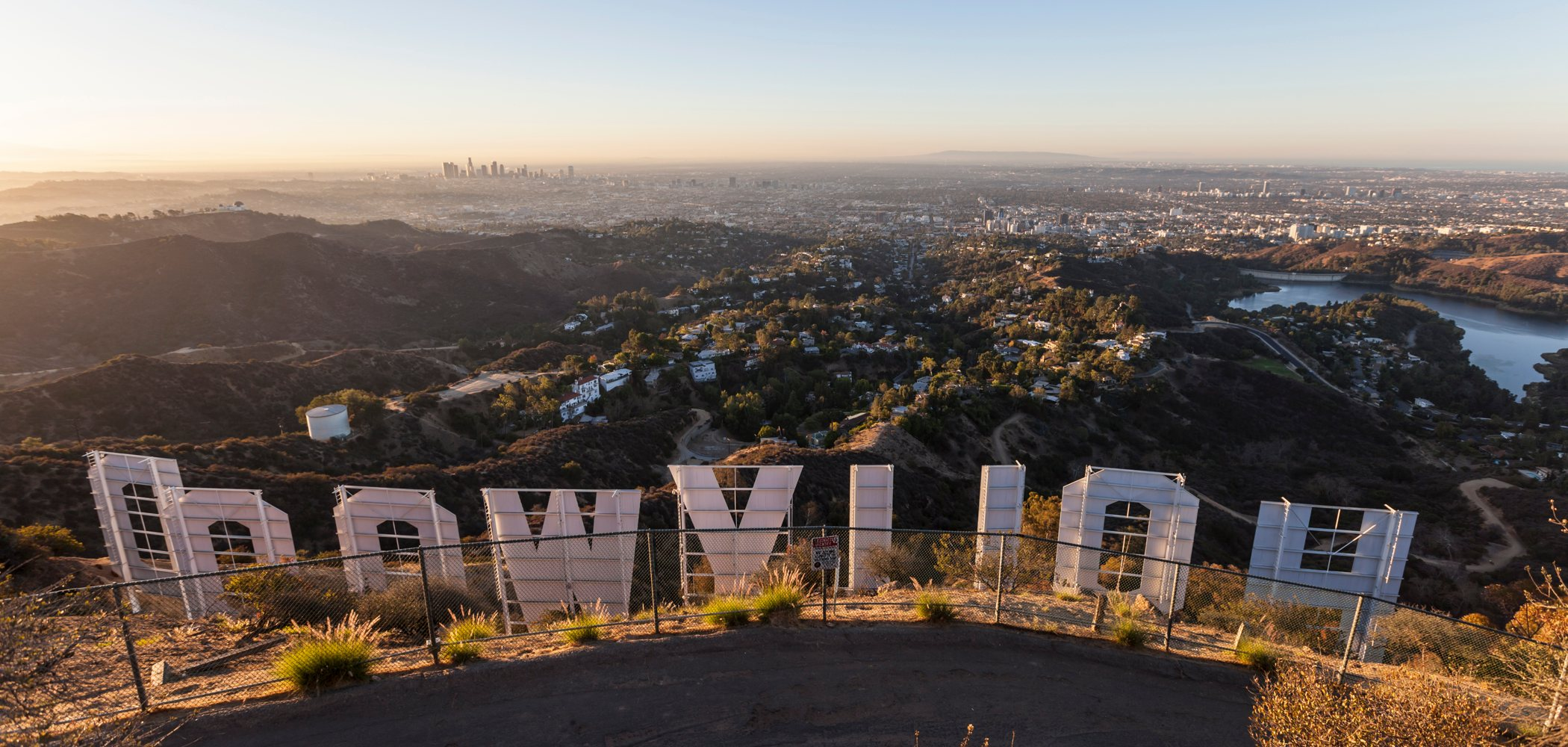 Los Angeles skyline and Hollywood sign