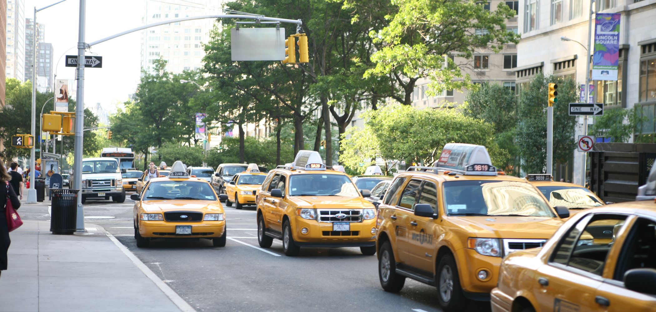 New York City street scene with taxis