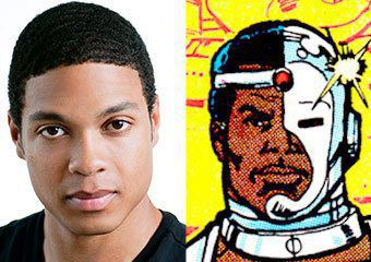 AMDA alumnus Ray Fisher and the early '80s incarnation of Cyborg (art by George Perez)