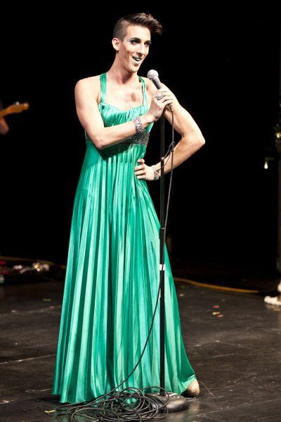 Marti rocks his signature dress performing at the Very MARY Holiday Gala. Photograph from Broadway.com