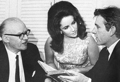 Philip Burton, Elizabeth Taylor and Richard Burton rehearse for the 1964 AMDA benefit.