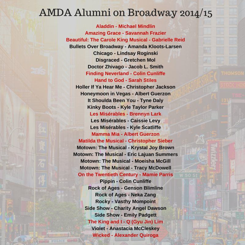 AMDA Alumni on Broadway 2014/15