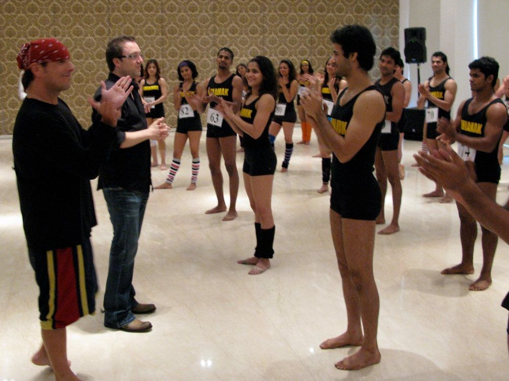 At dancer auditions in Mumbai. For the Eurpean tour of INDIA that Brian directed.