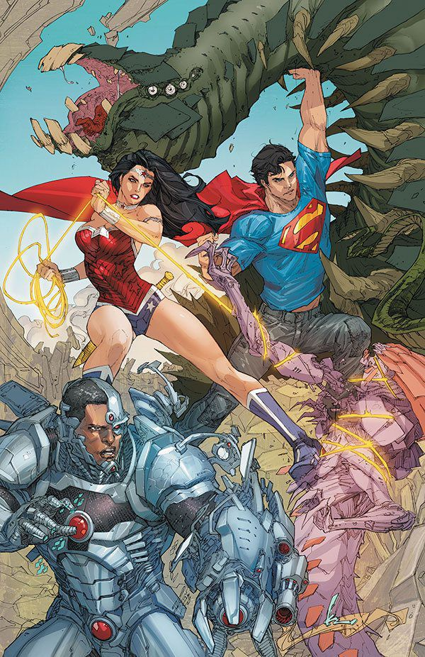 Cyborg in action alongside Wonder Woman and Superman (art by Kenneth Rocafort)