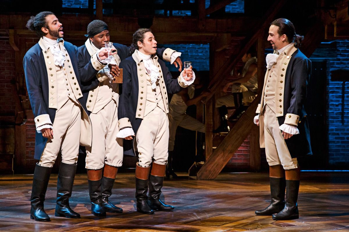 Scene from Hamilton with Anthony Ramos and Lin-Manuel Miranda