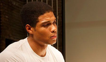 Ray Fisher as Muhammed Ali in Fetch Clay, Make Man. (Photo by Joan Marcus)