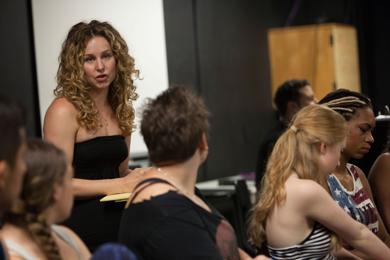 Chandra Lee Schwartz instructing young performers