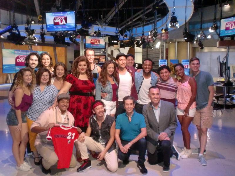 IN THE HEIGHTS Cast featuring AMDA Alumni (Carly Cannata, Luis Martinez, Luzma Ortiz, Rodrigo Varandas) on set of Good Day LA.