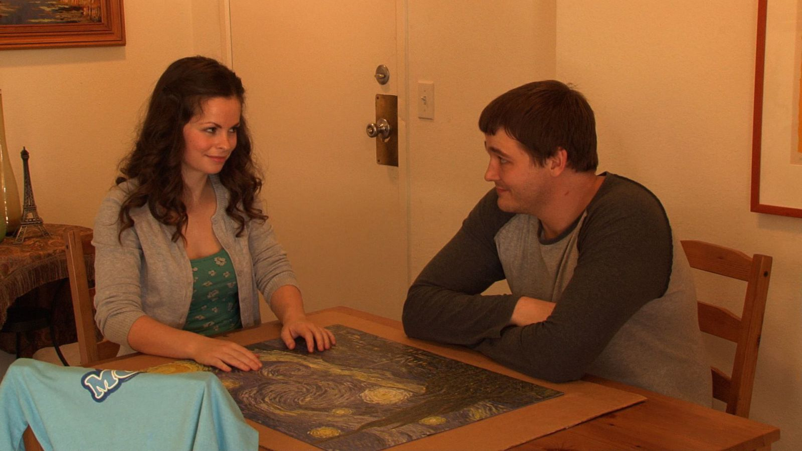 Left to Right: Celeste Chute as Mille and Mathew L. Hart as Bradley in FALLING...